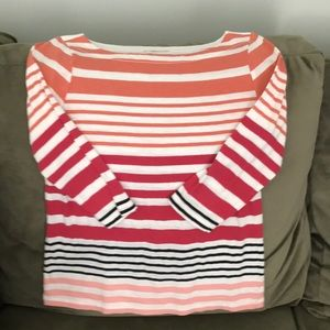Loft 3/4 sleeve top striped